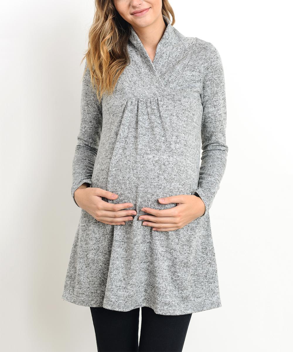 0412b0af225e Hello Miz Maternity Heather Gray Maternity Shawl-Collar Sweater