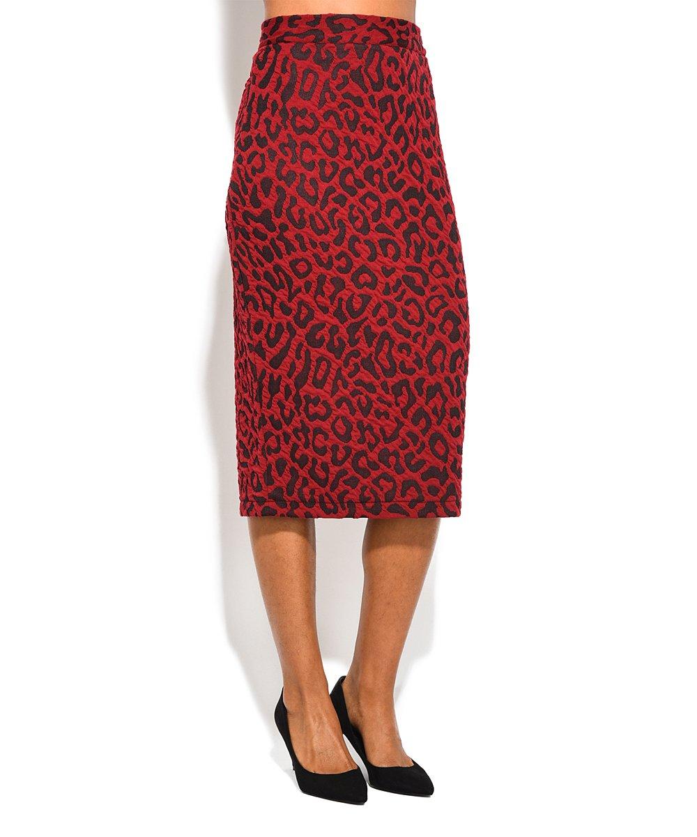 d5cdfbcb299 Eva Tralala Red Leopard Print Pencil Skirt - Women   Plus