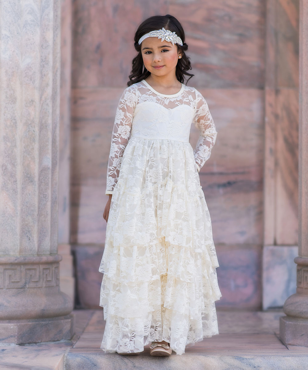 f1251f358 Just Couture Ivory Lace Coralee Dress - Toddler & Girls | Zulily