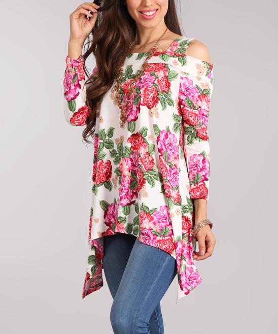 1a6da6202cb529 White   Pink Floral Open-Shoulder Sidetail Top - Women