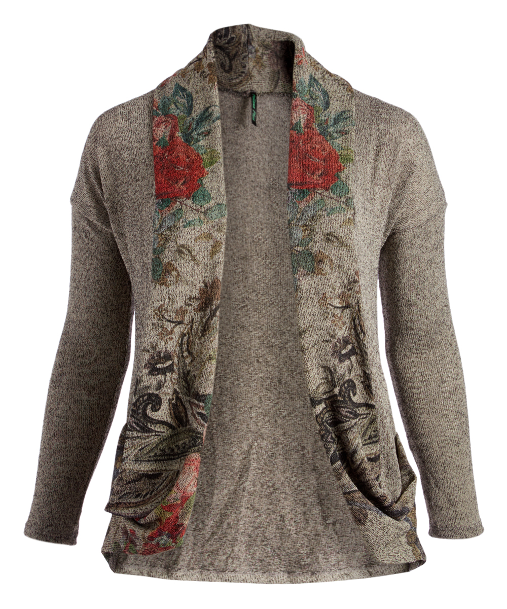 Poliana Plus Women's Cardigans Gray - Gray Floral Open Cardigan - Plus