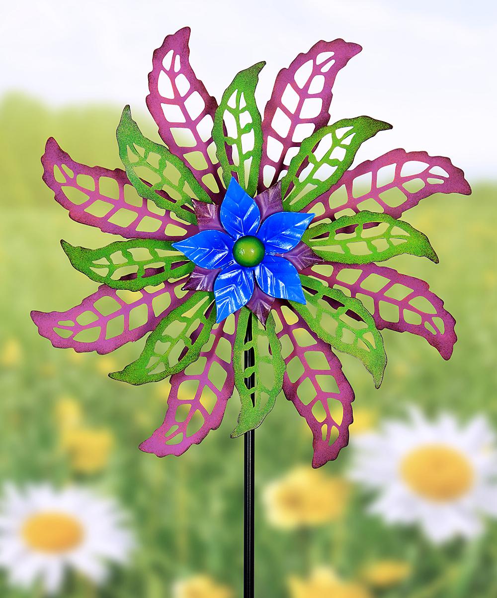 Purple & Green Flower Dual-Spinner Garden Stake