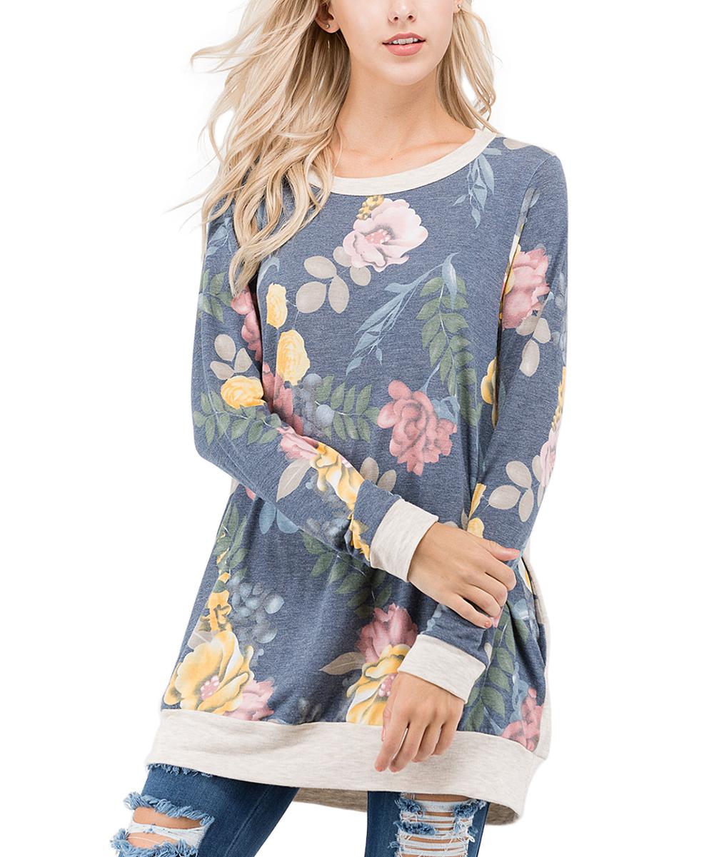 bf7ad67c6 sun n moon Indigo Blue Floral Pocket Sweater - Women