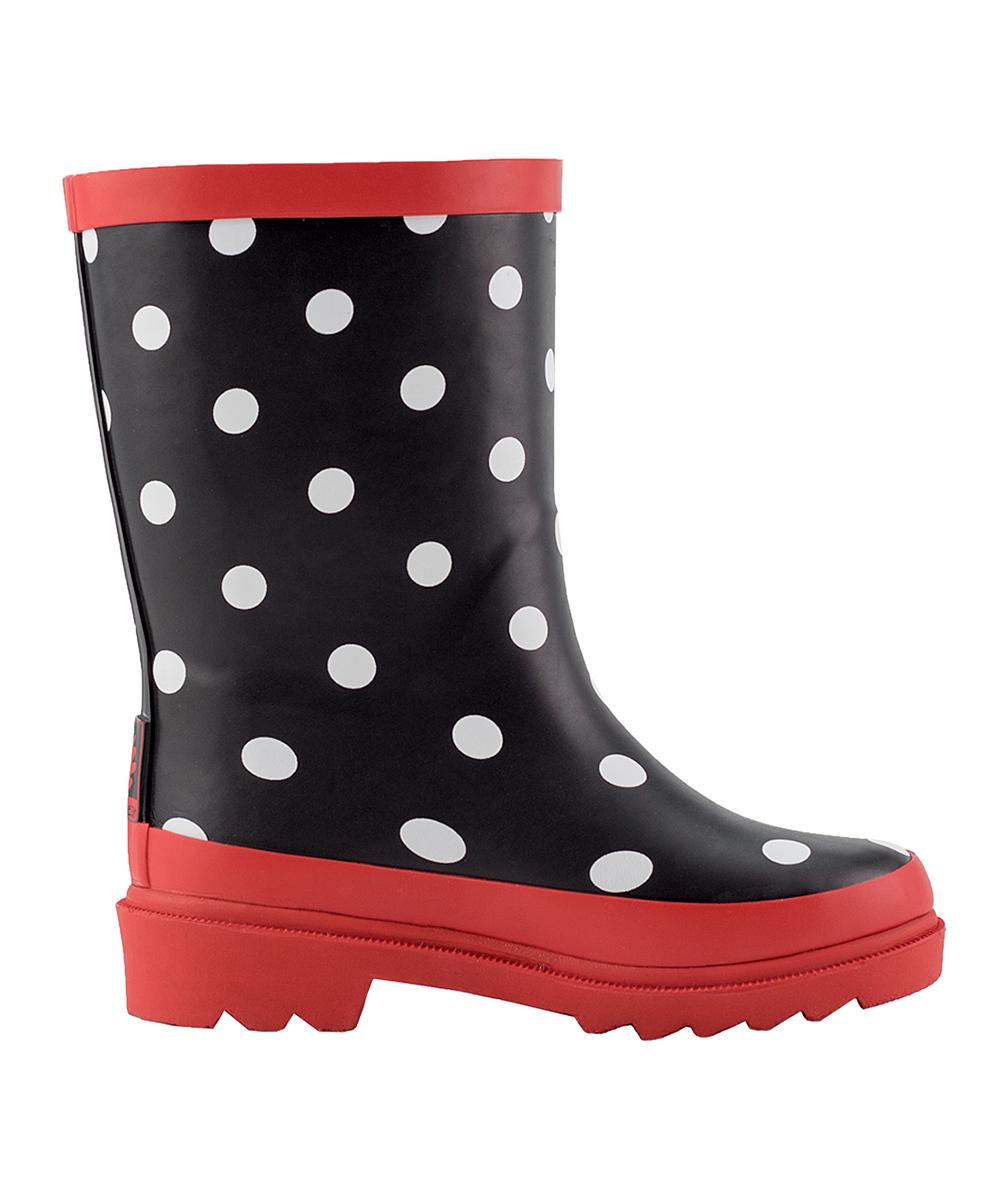 b290bcea4a8 Oaki Red   Black Polka Dot Buckle Rain Boot - Girls