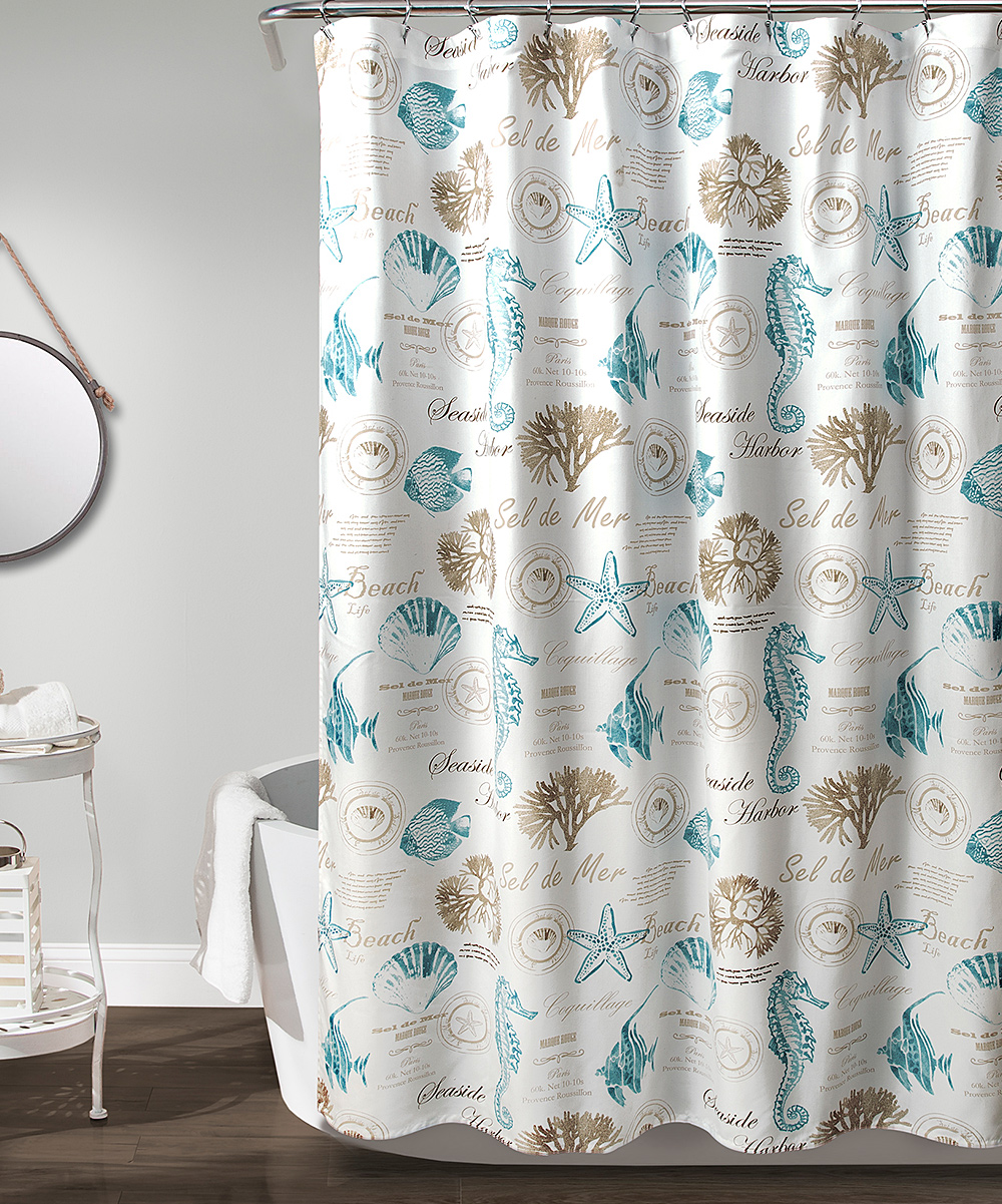 Blue Taupe Harbor Life Shower Curtain
