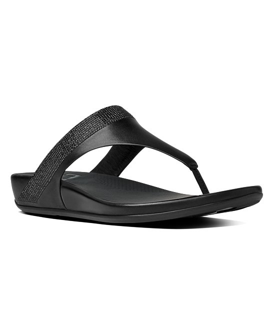 c75487df4d98db FitFlop Black Banda Micro-Crystal Leather Toe-Post Sandal - Women ...