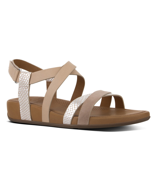 51713254a18 FitFlop Peachy   Silver Snake-Print Lumy Crisscross Leather Sandal ...