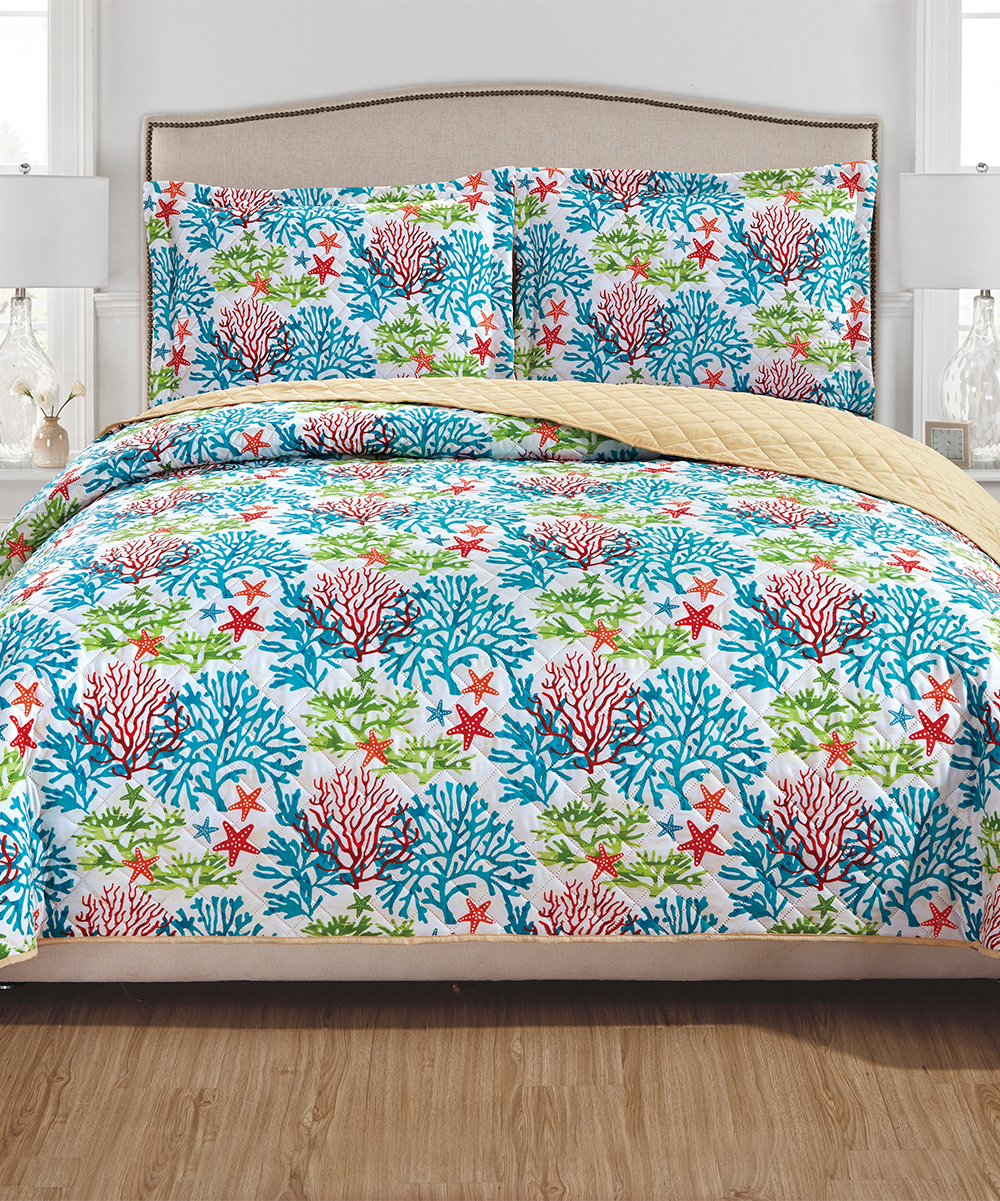 Ramallah Trading Company, Inc. Teal & Red Ariel Reversible Quilt Set