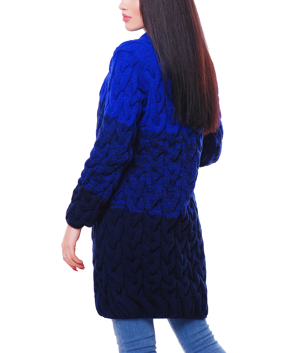 7b086f3a048 ... Womens Electric   Navy Electric   Navy Blue Color Block Cardigan -  Alternate ...