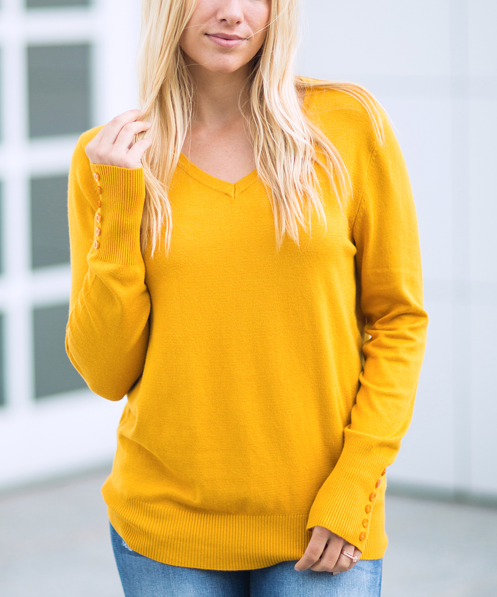 Olivia   Jane Mustard Button-Accent V-Neck Sweater - Women  948e1eb20