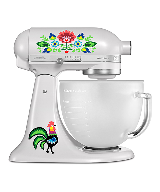 Folk Art Mixer Decal Set Folk Art Mixer Decal Set. Make your kitchen shine with the extra personality of these colorful decals designed to stick right along the surface of your mixer. Mixer not includedSheet: 11'' W x 8.5'' HAdhesive vinyl