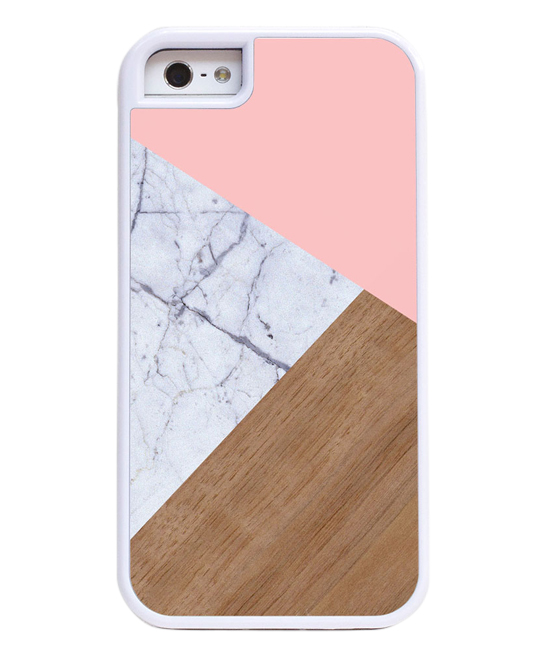 Pink Marble & Wood Phone Case Pink Marble & Wood Phone Case. Protect your mobile device from bumps, drops and falls with the sturdy protection of this layered case featuring a hard outer shell and a flexible rubber interior. Polycarbonate / metal / rubberImported