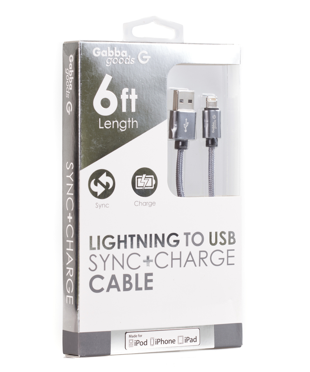 Gabba Goods  Electronic Chargers  - 6' Silver Lighting to USB Metallix Cable
