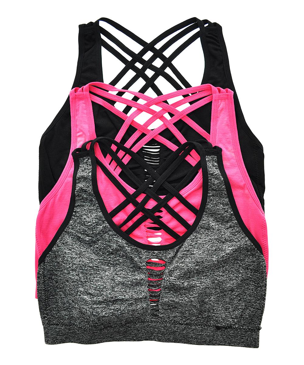 d303a08316 Angelina Pink   Gray Seamless Cross-Back Cutout Sports Bra Set ...