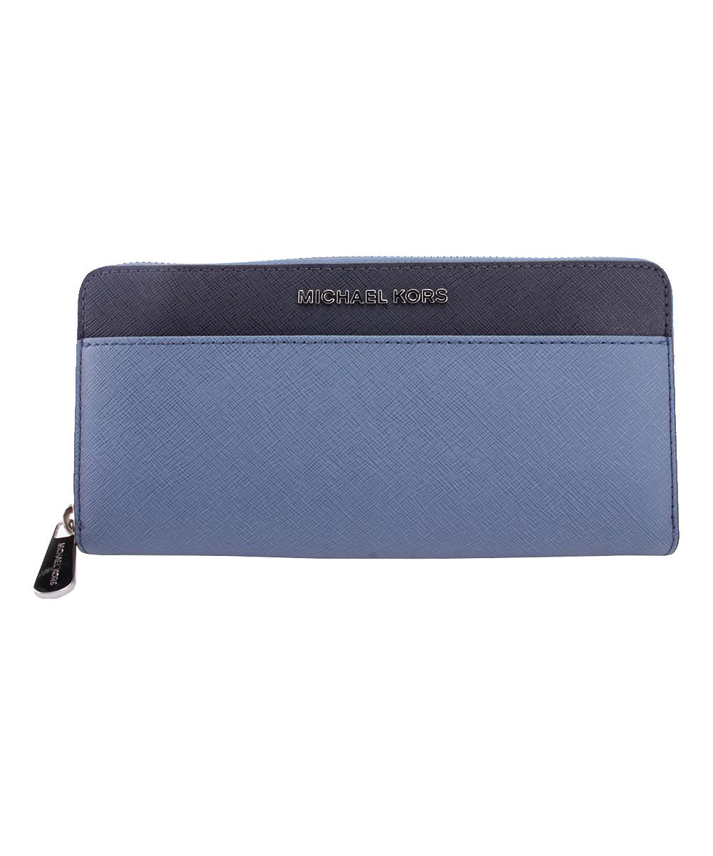 0b42b4af29f4 Michael Kors Denim & Admiral Blue Jet Set Travel Leather Wallet | Zulily