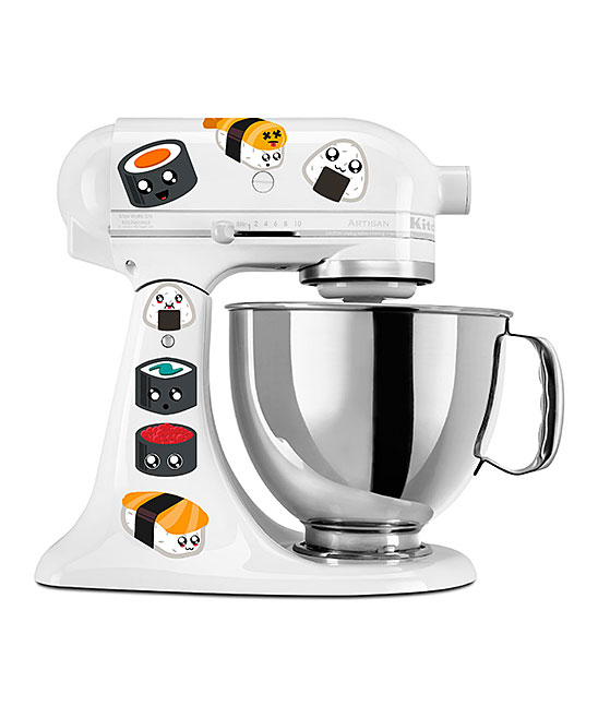 Kawaii Sushi Mixer Decal Set Kawaii Sushi Mixer Decal Set. Show your favorite countertop helper a little bit of love with the addition of colorful decals that bring personalized style to the kitchen. Mixer not includedFits all mixersSheet: 8.5'' W x 11'' H x 1'' DPrinted adhesive vinyl