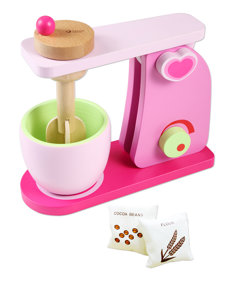 Classic World   Pink - Pink Wood Play Mixer Set Pink Wood Play Mixer Set. Introduce your little one to the shapes and tools of grown-up life in a safe and playful way with this wood kitchen mixer set.9'' W x 3.5'' H x 10.2'' DWoodRecommended for ages 4 years and upImported