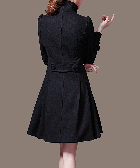 5d1cfbd9f4e Vogue Black Fit   Flare Pea Coat - Women   Plus