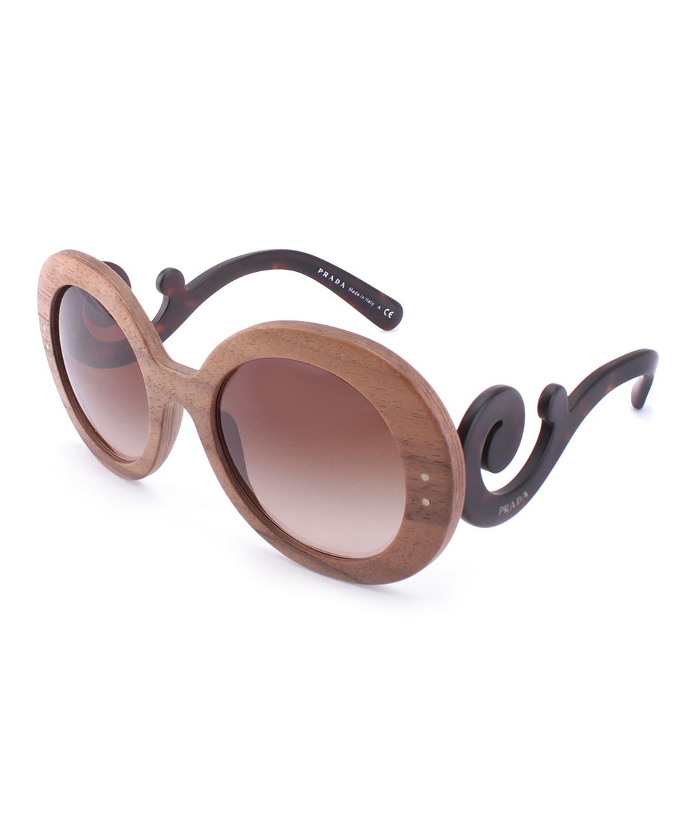 Prada Baroque Wood Brown Swirl Arm Round Sunglasses