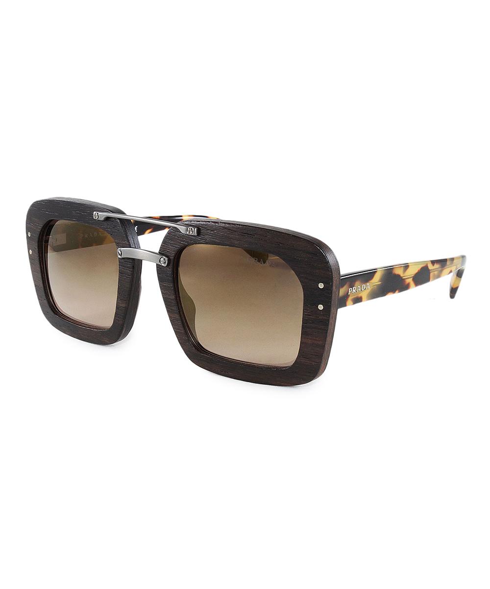Prada Dark Brown Wood Oversize Square Sunglasses Women