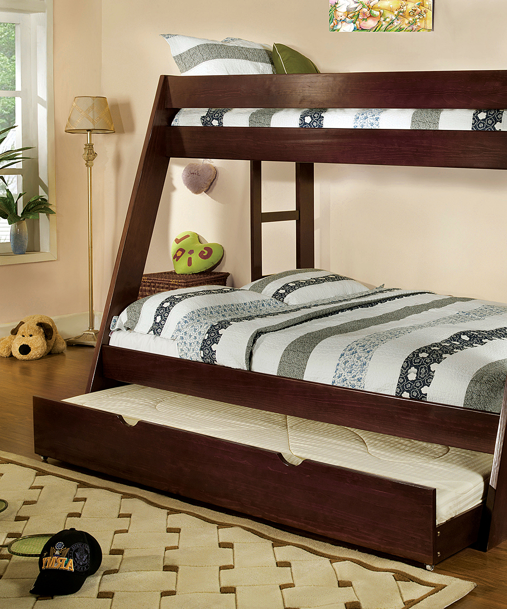 Serendipity Walnut Dianel Transitional Twin-Over-Full Bunk Bed  b0699d1700