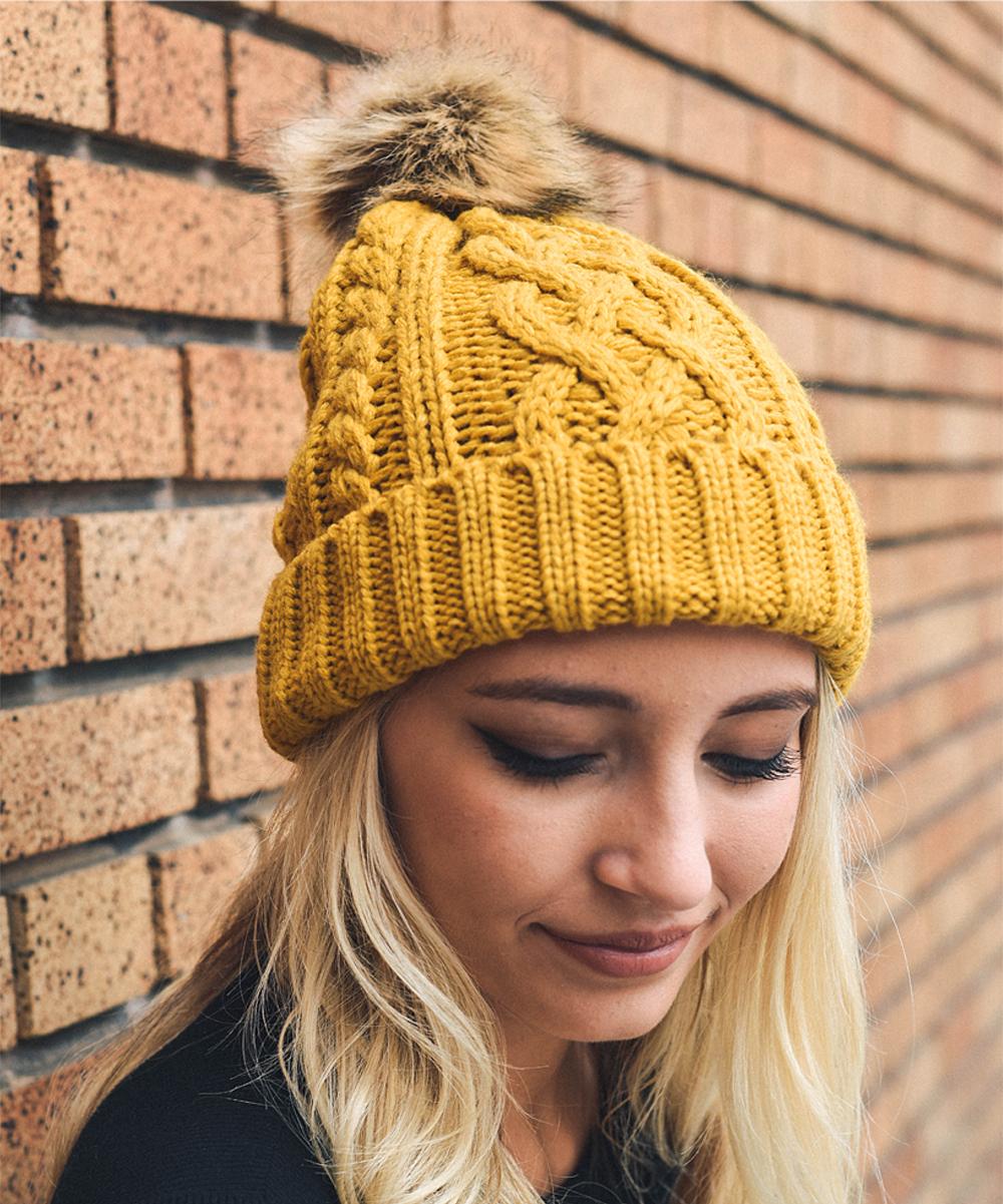 ... Womens MUSTARD Mustard Cable-Knit Faux Fur Pom-Pom Beanie - Alternate  Image 3 ... 9cc29f847b0a