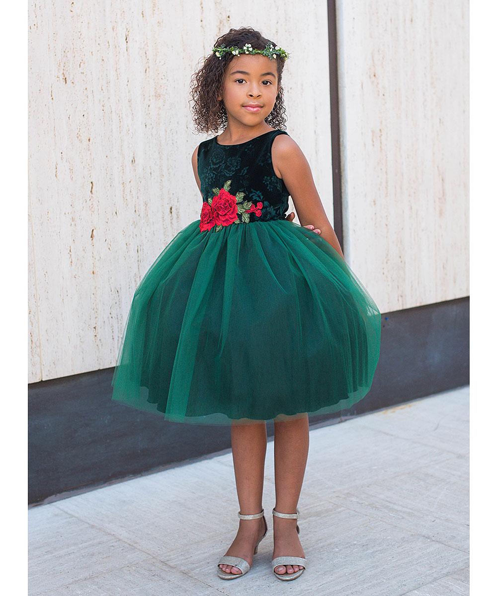 Kids Dream Green Velvet Rose-Applique Sleeveless Dress - Toddler ...