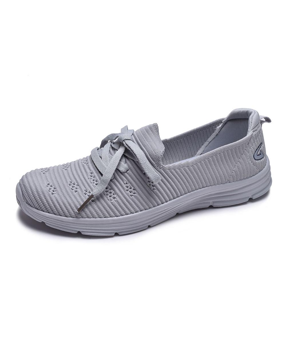 Dream Seek Women's Sneakers ALL - Gray Ribbed Sneaker - Women