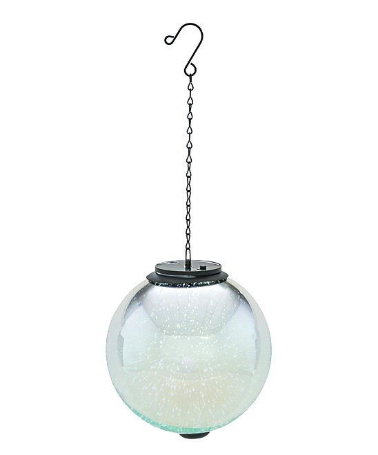 Silver Starburst Solar-Powered Hanging Orb Decor