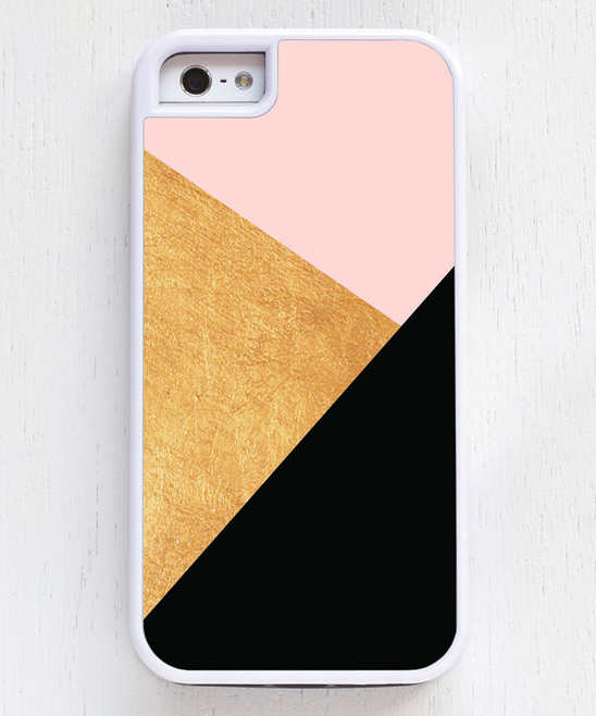 Pink & Gold Geometric Phone Case Pink & Gold Geometric Phone Case. Transform your phone into an accessory that reflects your personality with this colorful case. A rugged plastic exterior and cushioned rubber interior help protect against minor impacts. Plastic / rubberImported