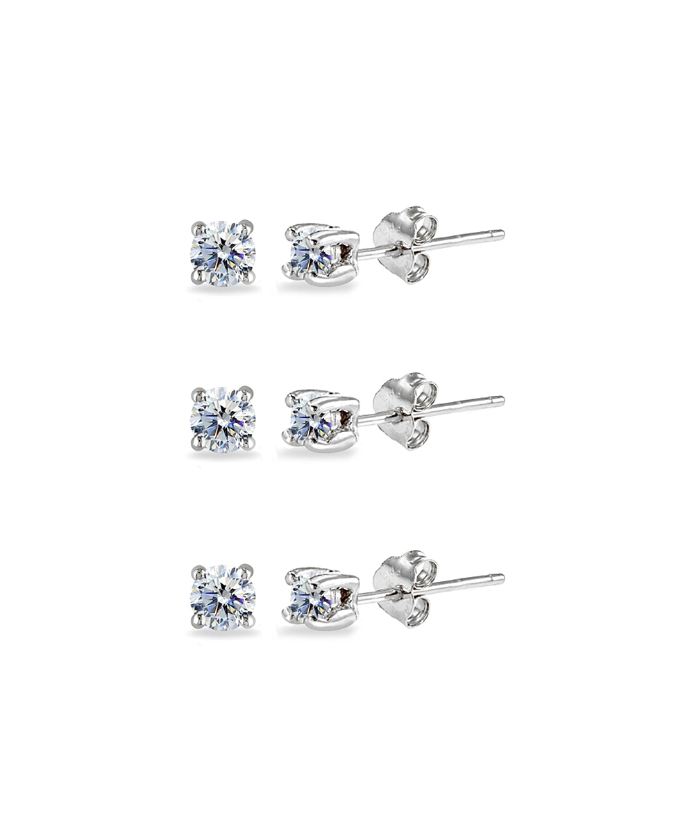 441c8d90f Enduring Jewels Sterling Silver Stud Earrings Set With Swarovski ...