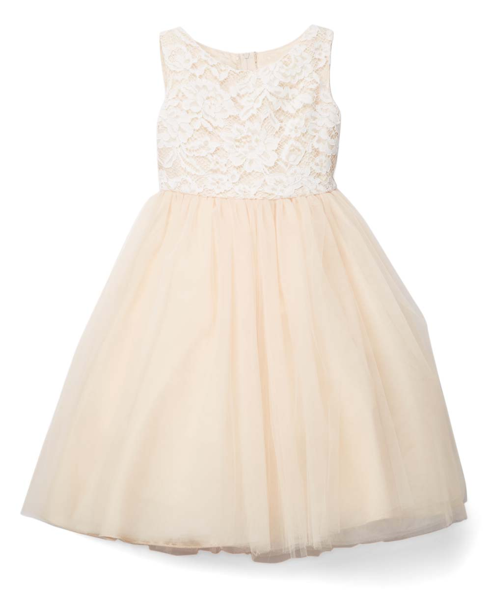 Kids Dream Champagne Lace Bodice Sleeveless Dress Infant Toddler Girls