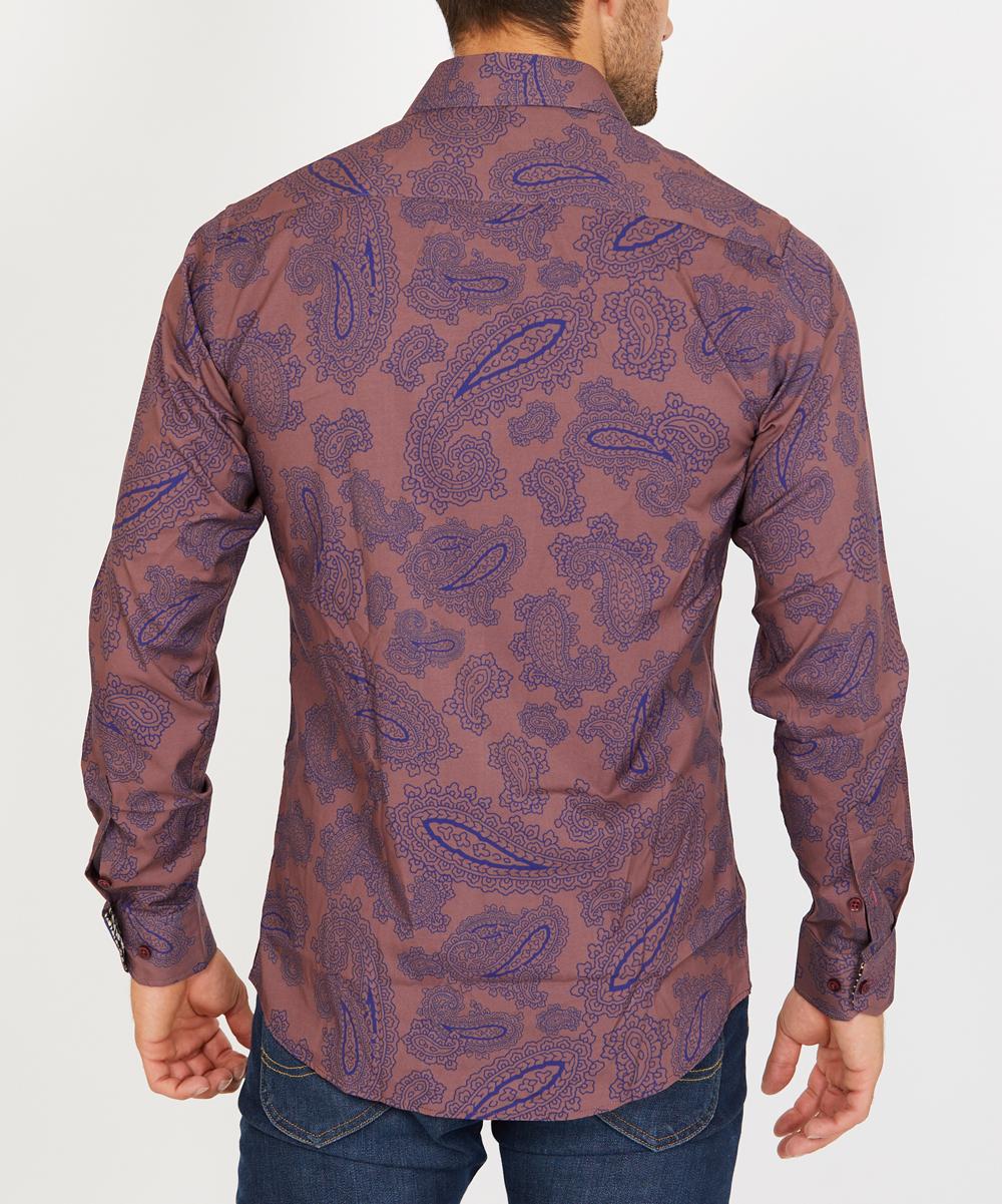 38df4e71 ... Mens Purple Paisley Organic Cotton Button-Up - Alternate Image 2 ...
