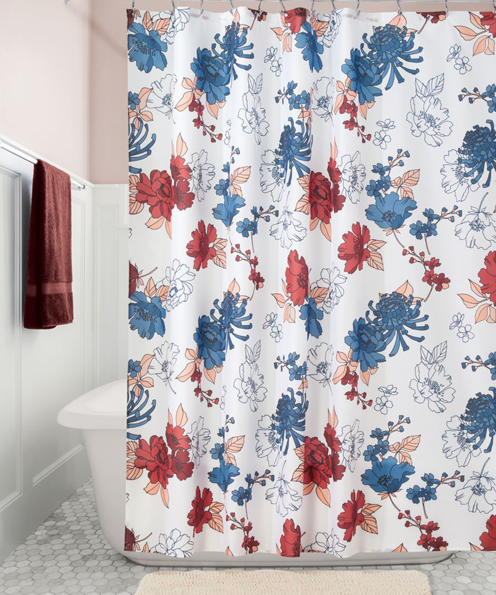 All Gone Red Blue Cottage Floral Shower Curtain