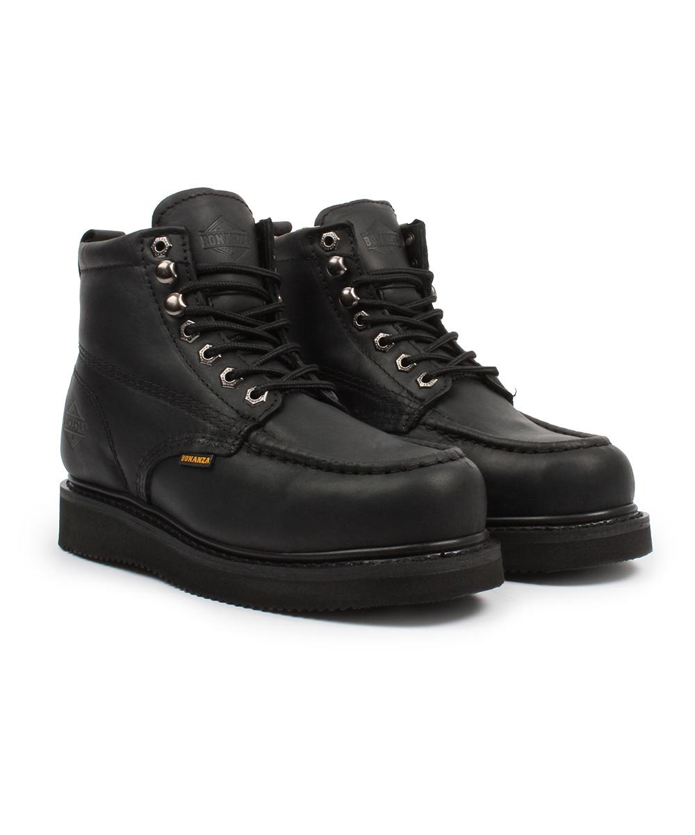 4af0e314613 Bonanza Boots Black Moc-Toe Steel-Toe Leather Work Boot - Men