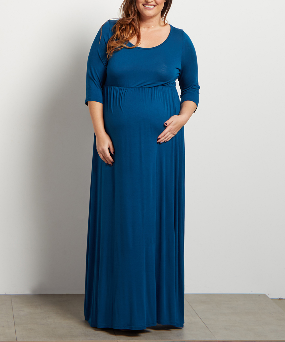 dea4b8c872a11 PinkBlush Maternity Teal Three Quarter-Sleeve Maternity Maxi Dress ...