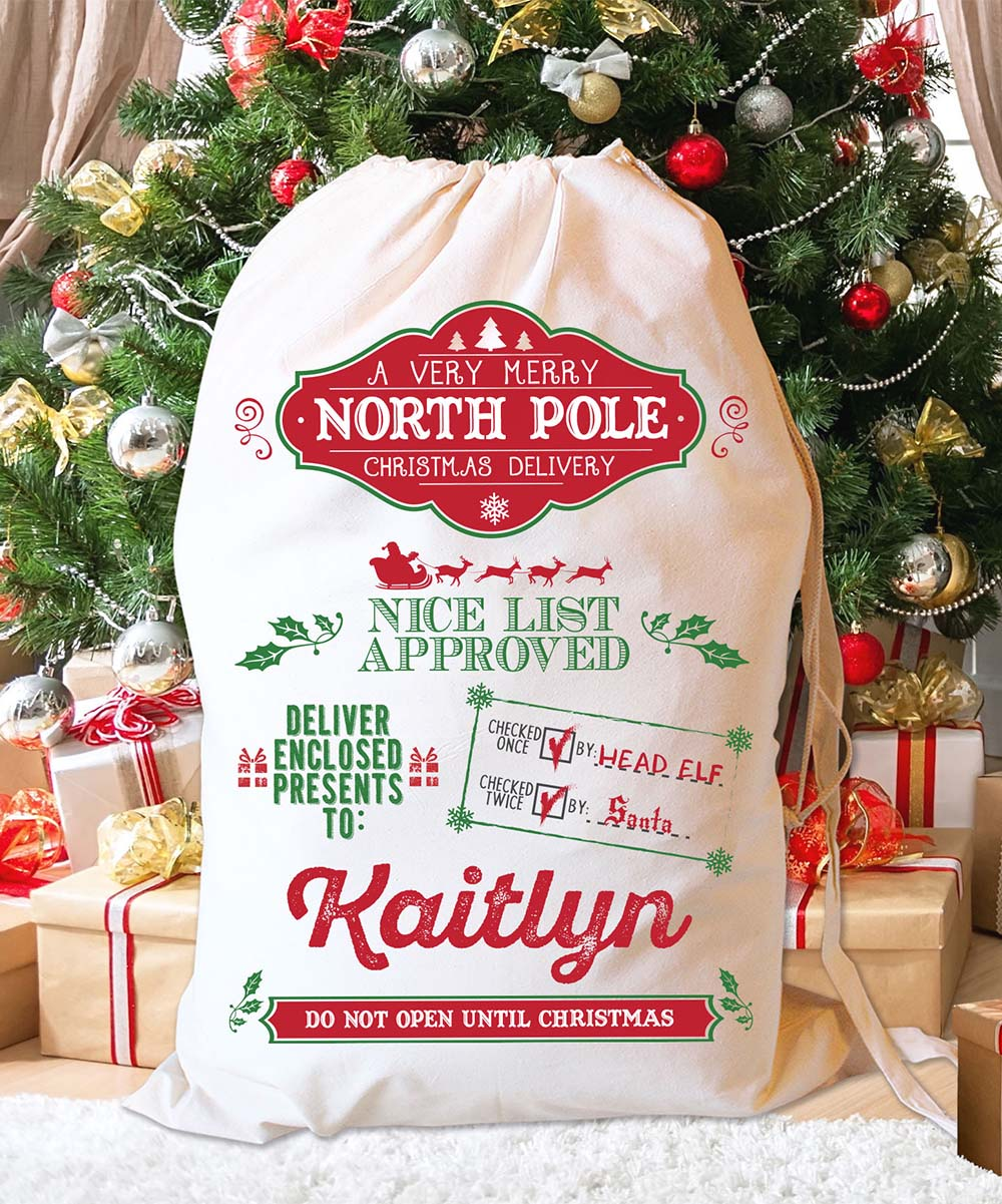 LMT Creative North Pole Nice List I Personalized Santa Sack | zulily