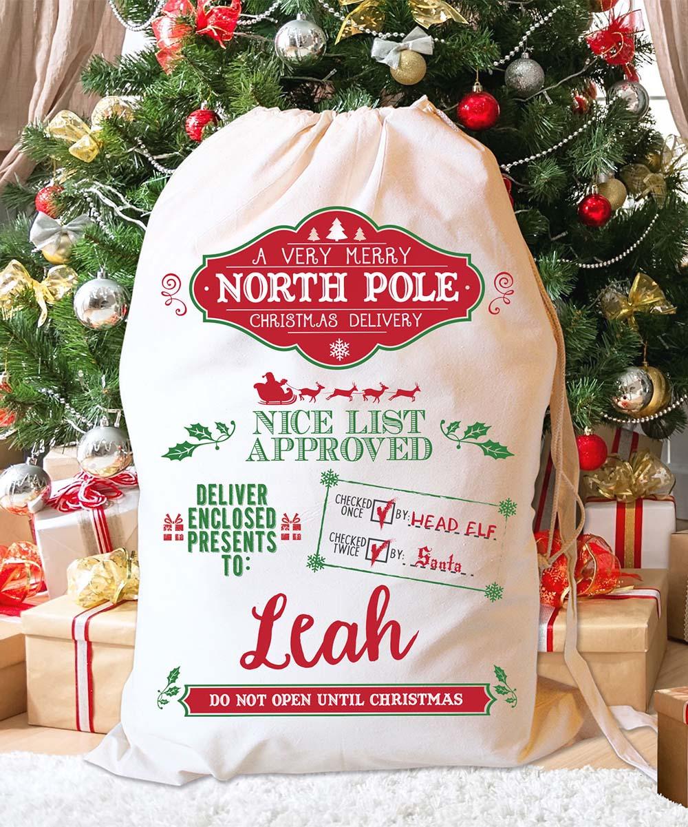 LMT Creative North Pole Nice List V Personalized Santa Sack | zulily