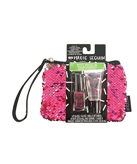 Fashion Angels  Lip Gloss  - Pink & Silver Magic Sequin Beauty Wristlet