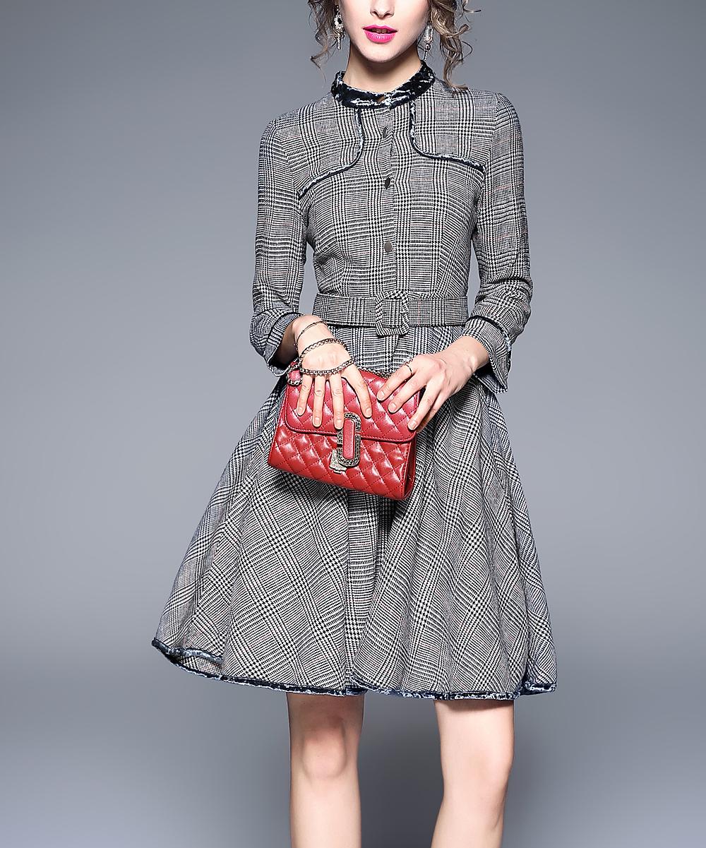01ee31525 Coeur de Vague Gray Check Fit   Flare Dress - Women