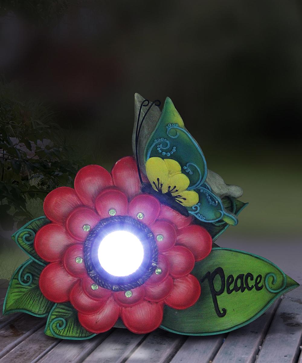 Pink 'Peace' Flower Solar Light-Up Garden Decor