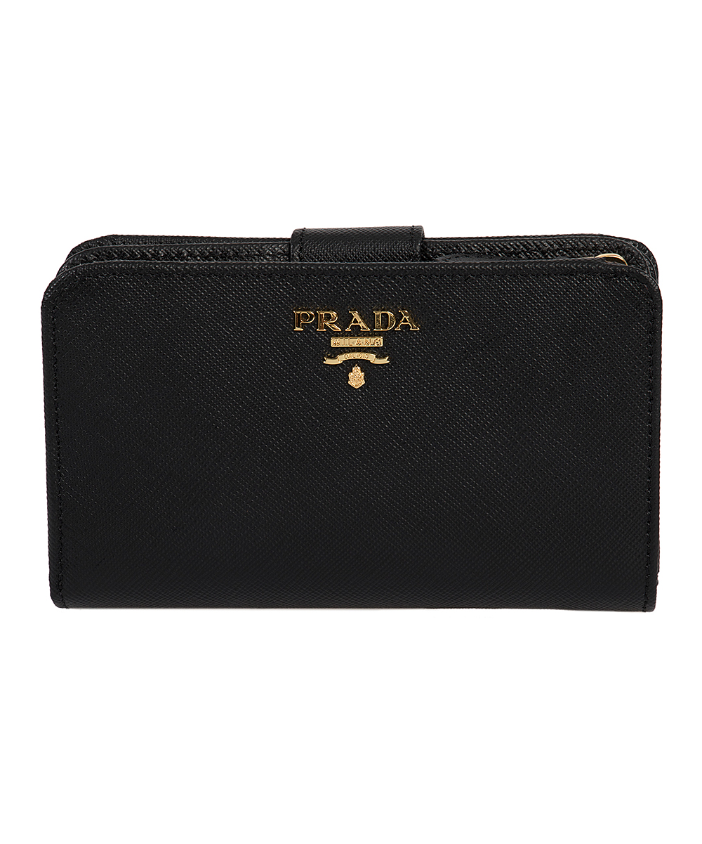 b73b7a9ff9563 Prada Black Snap Saffiano Leather Wallet