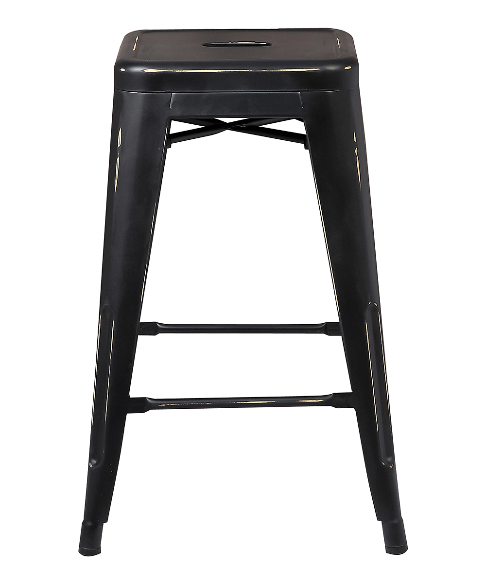 Distressed Black Trattoria Counter Stool Set Of Two Alternate Image 2