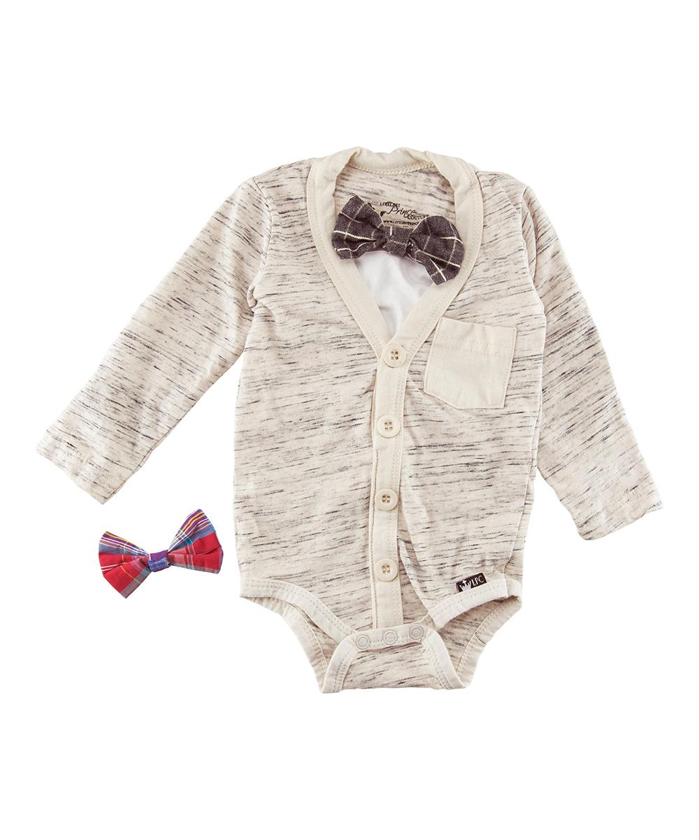 b02e6f2e0 Littlest Prince Couture Oatmeal Slub Knit Long-Sleeve Button-Front Bodysuit  Set - Infant