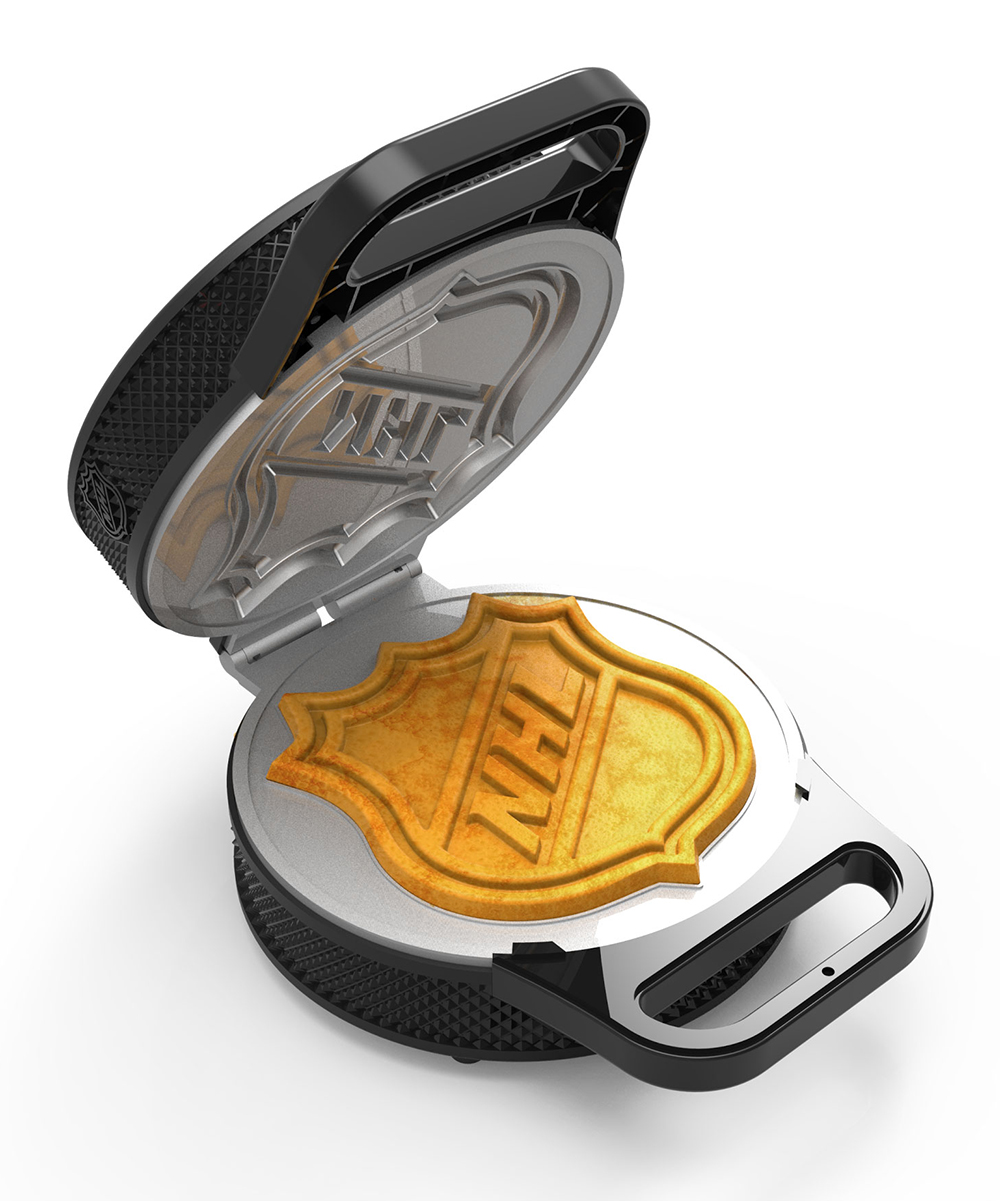 Uncanny Brands  Waffle Makers  - NHL Hockey Puck Waffle Maker NHL Hockey Puck Waffle Maker. Start off the day with right with this rockin' waffle maker that cooks delicious NHL logo-shaped waffles to satisfy your sweet tooth. 7.75'' W x 9.5'' H x 4.75'' DBakelite / cast aluminumHand washImported
