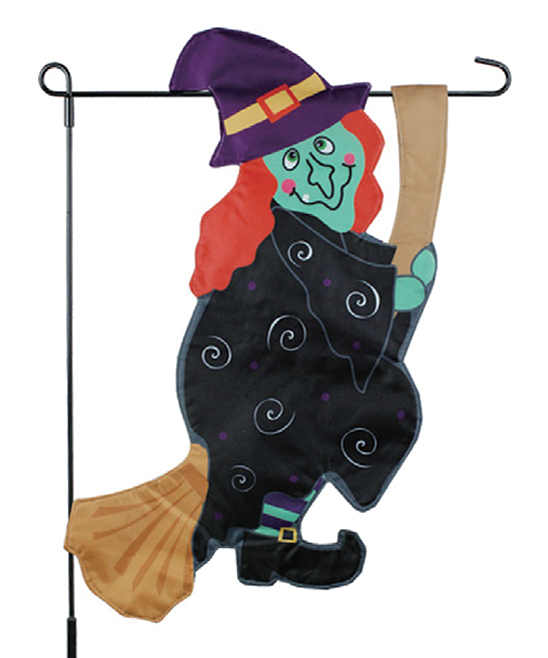 JEC Home Goods  Flags multi - Halloween Witch Broom Outdoor Flag