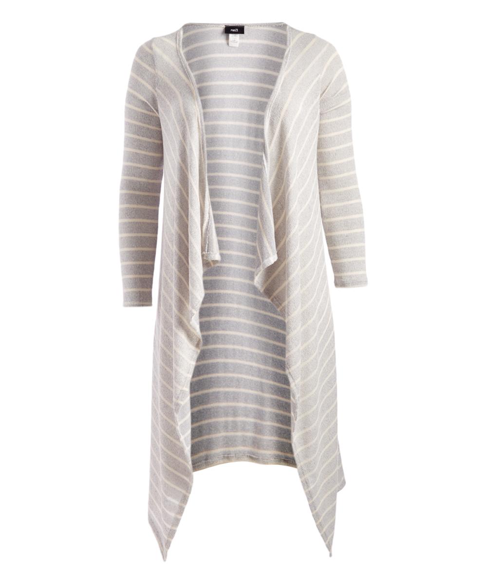 CANARI Women's Open Cardigans gray/white - Gray & White Stripe Hi-Low Open Duster - Plus