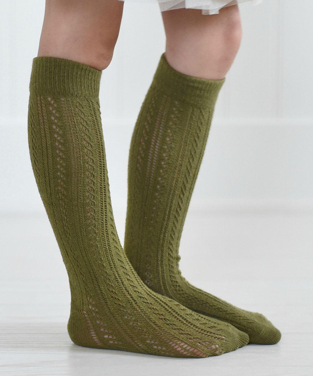 be4ddd4fa PeekABootSocks Olive Green Lil Emma Knee-High Socks - Kids