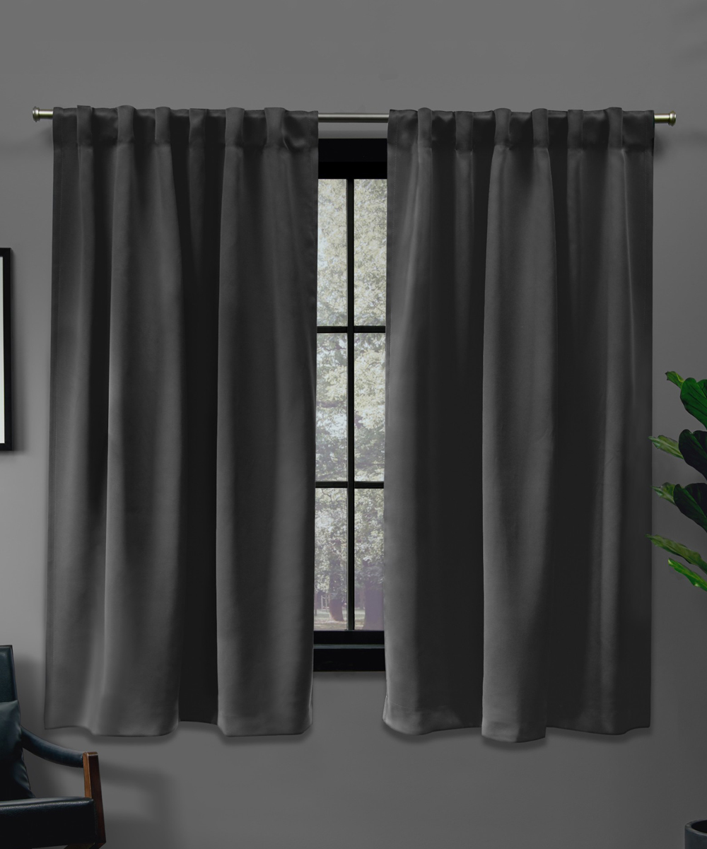 Exclusive Home  Window Curtains Charcoal - Charcoal Blackout Curtain Panel - Set of Two