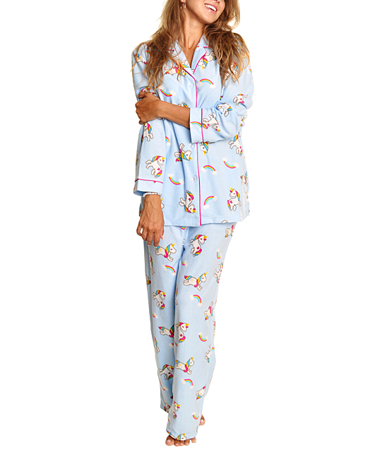 f7090cd775 Angelina Light Blue Unicorn Fleece Pajama Set - Women & Plus | Zulily